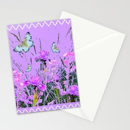 LILAC PURPLE MODERN FLOWERS ABSTRACT Stationery Cards