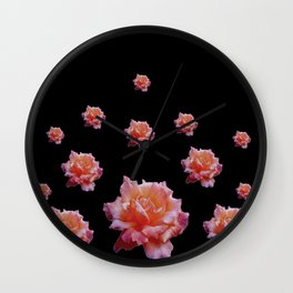 ROMANTIC ANTIQUE PINK ROSES ON BLACK Wall Clock