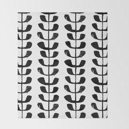 Linocut black and white botanical pattern minimalist home decor nursery trendy leaves pattern Throw Blanket