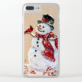 Snowman and cardinal Clear iPhone Case