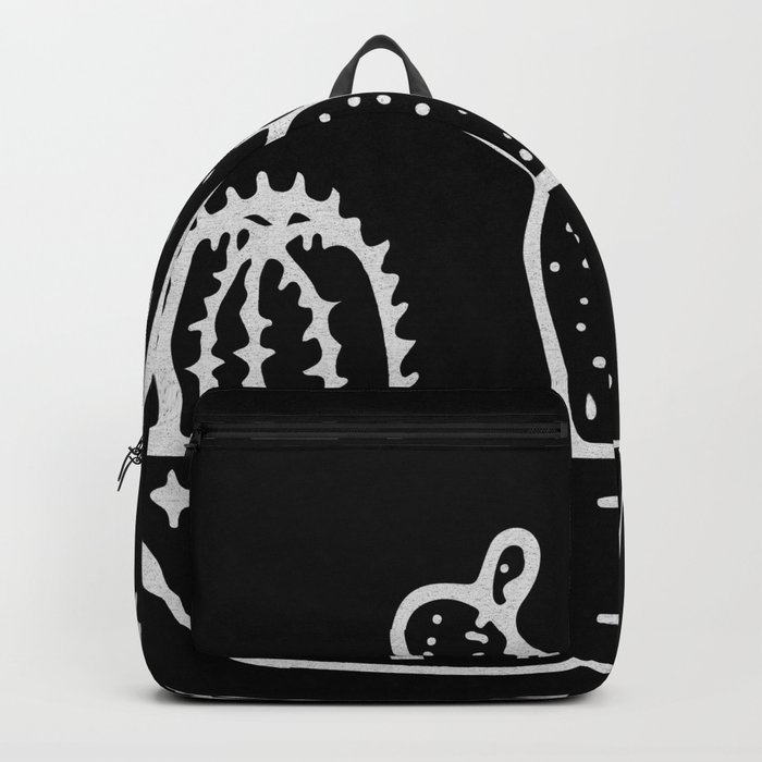 Cactus Planter Gray on Black Backpack