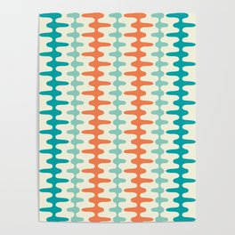 Retro Mid Century Modern Trellis Print Orange and Teal Poster