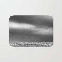 Black White Beach Storm Bath Mat