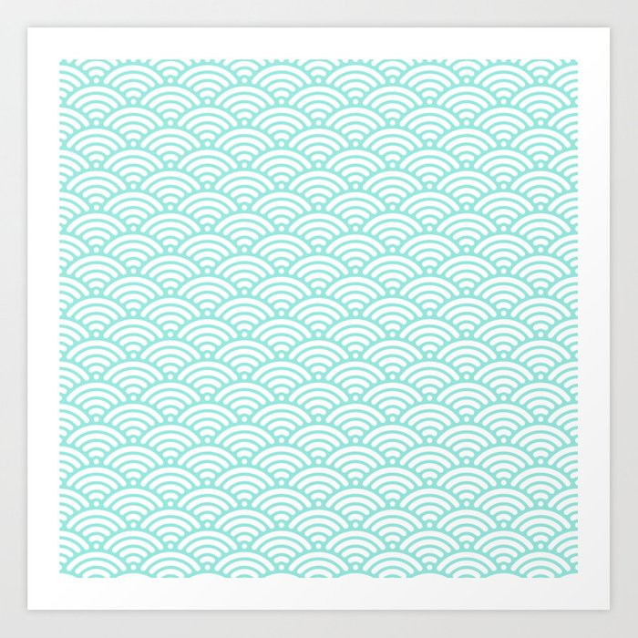 Blue Tiffany Mermaid Scales Art Print
