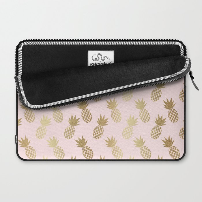 Pink & Gold Pineapples Laptop Sleeve