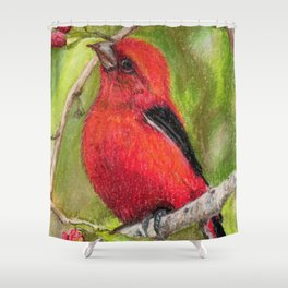 Raspberries Red Bird Nature Art Scarlet Tanager by Laurie Leigh Shower Curtain