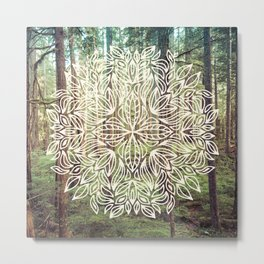 Mandala Vintage Forest Path Metal Print