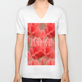 Love You! Red Poppies #decor #society6 Unisex V-Neck