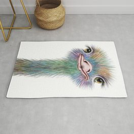 Ostrich colorful bird Rug