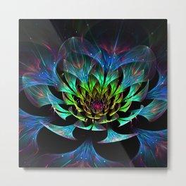 Fractal Flowers Abstract Petals Glitter Lights Art 3d Metal Print