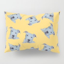 Pit Bull Terrier Puppy Portrait Pattern on Yellow Pillow Sham