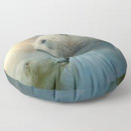 Polar Bears and Sky Floor Pillow