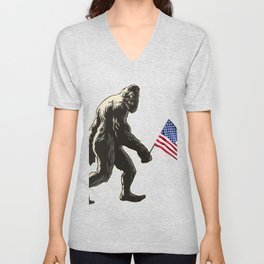 Hide and seek world champion USA Flag shirt bigfoot is real funny Tees Unisex V-Neck