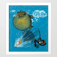 baloon Art Prints featuring pufferfish baloon by MR VELA