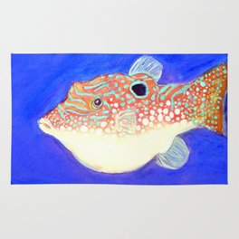 Blue Spotted Orange Toby Puffer Rug