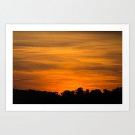 Orange Sunset Over Tree Line Art Print