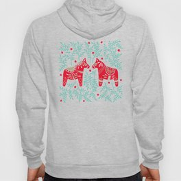 Swedish Dala Horses – Red & Mint Palette Hoody