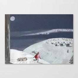 SLEDDING IN WINTER  Canvas Print