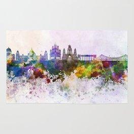 Kolkata skyline in watercolor background Rug