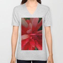 Brigth Red Flower Unisex V-Neck