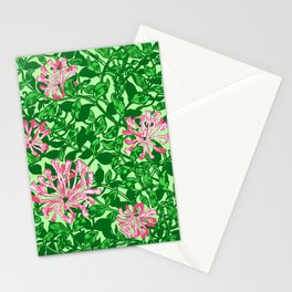 William Morris Honeysuckle, Pink and Emerald Green Stationery Cards