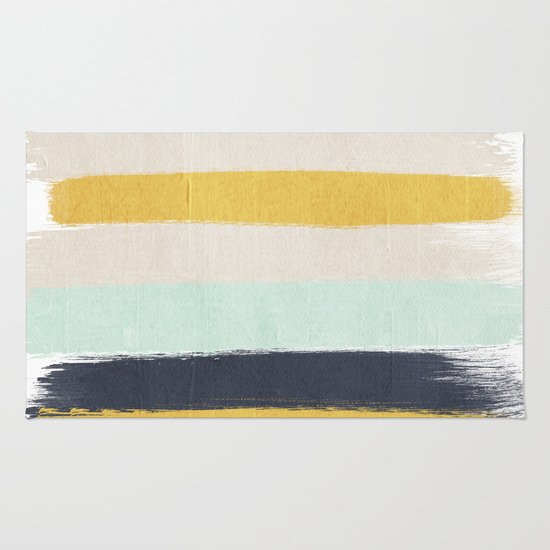 Abstract Stripes Hand Painted Brushstrokes Mint Grey And