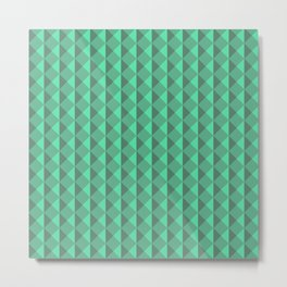 Green abstract geometric pattern. Pyramid. Rhombuses and triangles. Metal Print