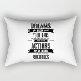 Let Your Dreams Be Bigger Than Your Fears black-white typography design poster home wall decor Rectangular Pillow