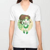 sailor jupiter V-neck T-shirts featuring Sailor Jupiter by strawberryquiche