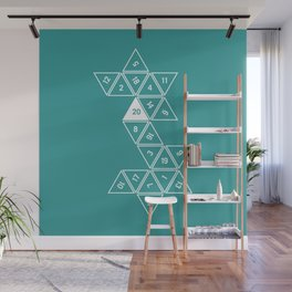 Teal Unrolled D20 Wall Mural