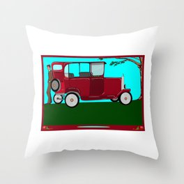 A Man and his Vintage Car Throw Pillow