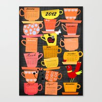 calender Canvas Prints featuring Stapled Cups Calender 2012 by Elisandra