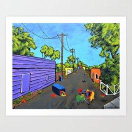 Los Angeles Alley (Original Acrylic Painting) by Mike Kraus - LA art valentines day girlfri Art Print