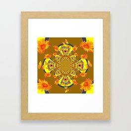 ABSTRACT SUNFLOWERS & BUTTERFLIES KHAKI ART Framed Art Print