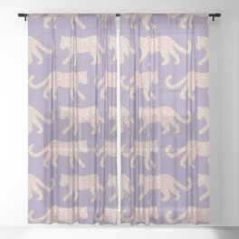 Kitty Parade - Pink on Lavender Sheer Curtain