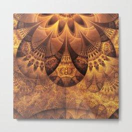 Beautiful Gold and Brown Honeycomb Fractal BeeHive Metal Print