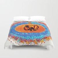 stitch Duvet Covers featuring Pumpkin Stitch  by grapeloverarts