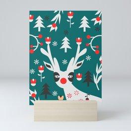 Merry Christmas reindeer Mini Art Print