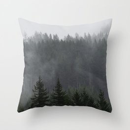 Forest Fog Mountain III - Wanderlust Nature Photography Throw Pillow