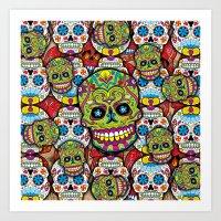 sugar skulls Art Prints featuring Sugar Skulls by Spooky Dooky