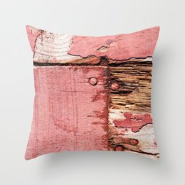 Used And Worn Off Grunge Wooden Planks Throw Pillow