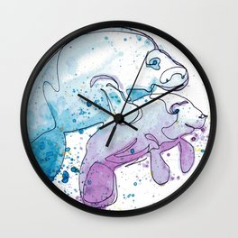 Manatee Mommy with Her Baby Wall Clock