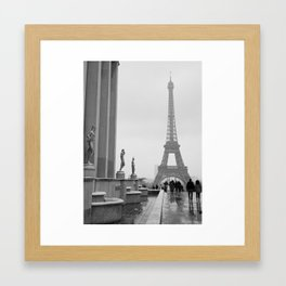 Eiffel Tower on a Snowy Day Framed Art Print