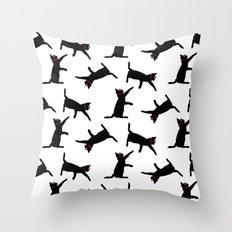 Cats-Black on White Throw Pillow