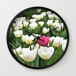 Pink between white Wall Clock