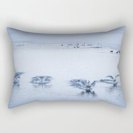 Trumpeter Swans Synchronized Landing at the break of Dawn Rectangular Pillow