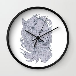 Hannya Mask and Koi Fish Drawing Wall Clock