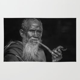 Portrait of an Elderly Man Smoking Pipe Rug