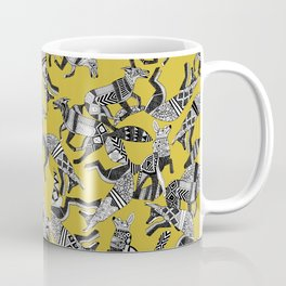 woodland fox party ochre yellow Coffee Mug