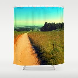 Hiking on a hot afternoon Shower Curtain